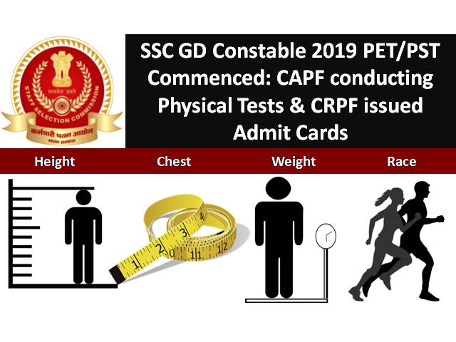 SSC GD Constable 2019 PST/PET to commence from 13th August