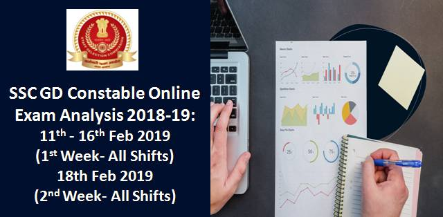 SSC GD Constable Online Exam Analysis 2018-19: 11th-16th (1st Week), 18th Feb 2019 (All Shifts)
