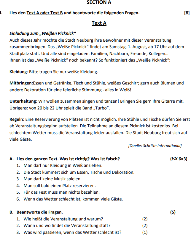 Class 10 German Sample Paper