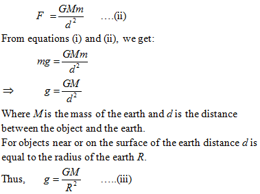 Mathematical Expression for g, Acceleration Due to Gravity