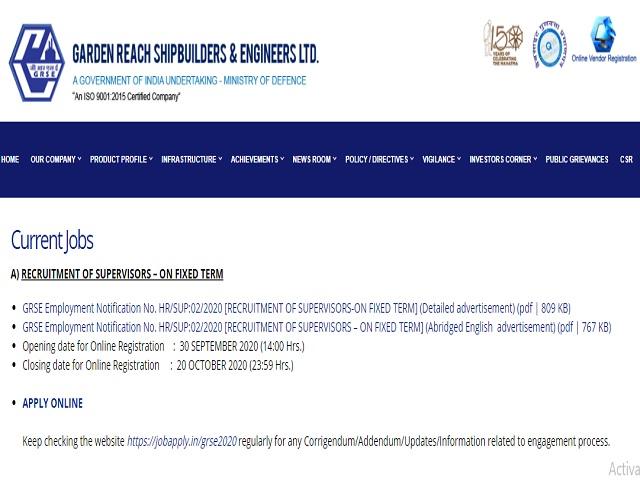 GRSE Recruitment 2020: Apply Online for 36 Supervisor and Design Supervisor Posts