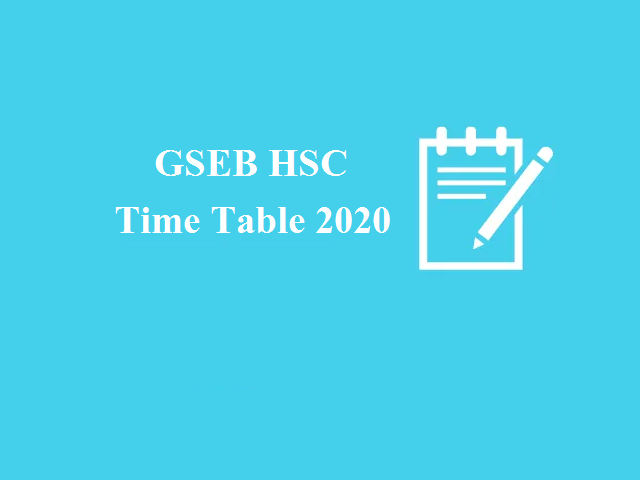 GSEB HSC Time Table 2020