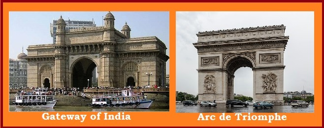 Gateway of India and Arc de Triompe