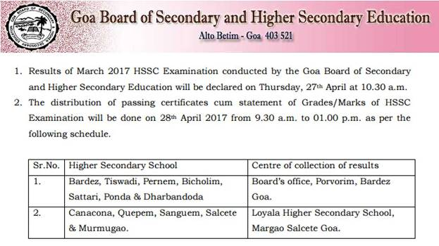 Goa Board HSSC Result 2017, Goa Board Class 12 Results, Confirmed on 27th April, 10:30 AM @ gbshse.gov.in