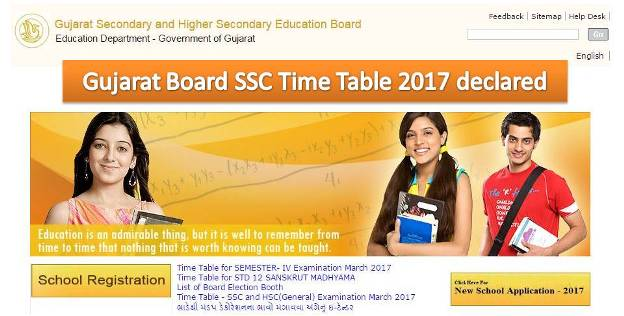 Gujarat SSC Time Table 2017