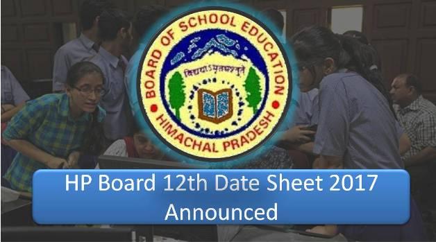 HP Board 12th Datesheet 2017