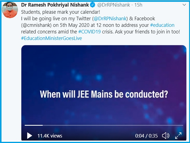 HRD Minister Ramesh Pokhriyal 'Nishank' Will Interact Online With stakeholders on 5th May 2020