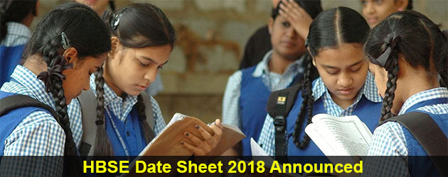 HBSE Date Sheet 2018 for 10th & 12 Class announced by Board of School Education Haryana @ www.bseh.org.in