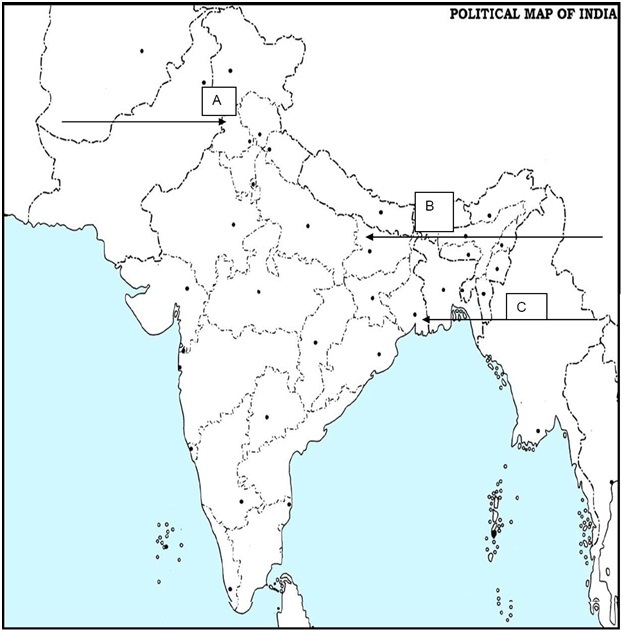 CBSE Class 12 History Sample Paper 2018: Political Map of India