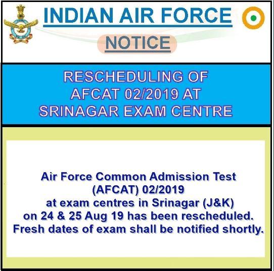 IAF AFCAT Postponed in Srinagar