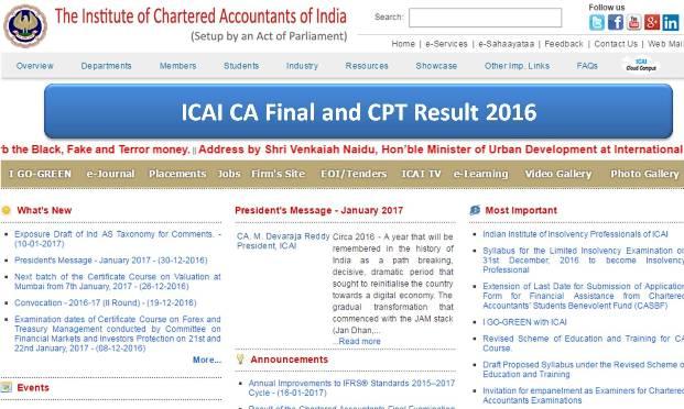 ICAI CA CPT Result 2016