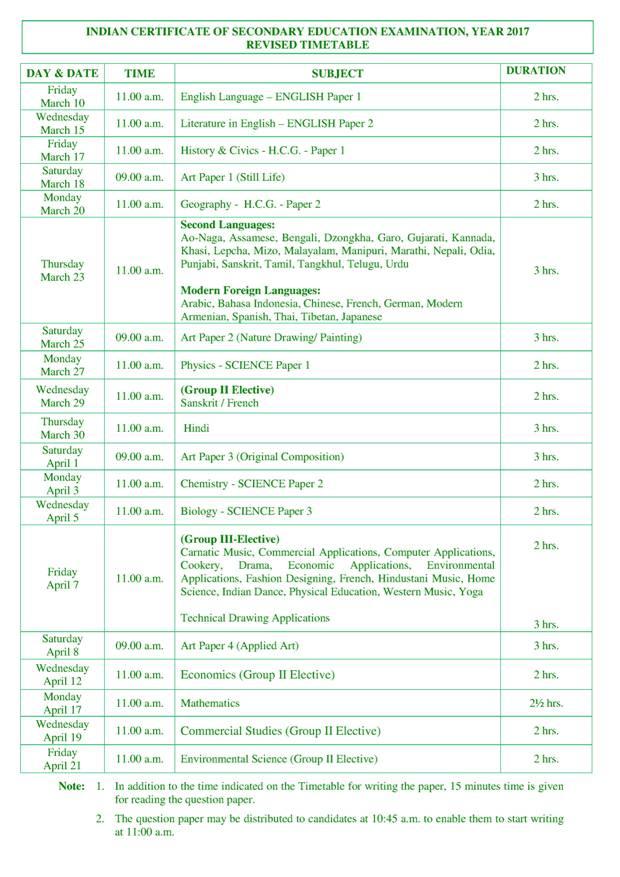 ICSE Revised Datesheet