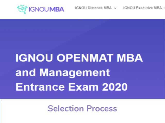 IGNOU OPENMAT 2020 Selection Process