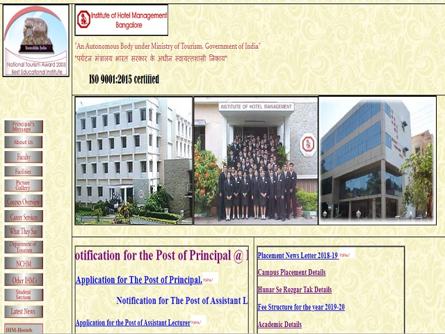 Institute of Hotel Management Catering Technology & Applied Nutrition Principle Post 2019