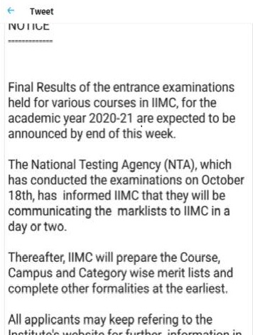 IIMC Notification