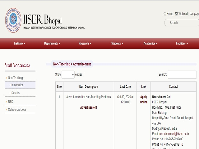 IISER Bhopal Recruitment 2020: Apply Online for 81 Lab Technician, Staff Nurse and Other Posts