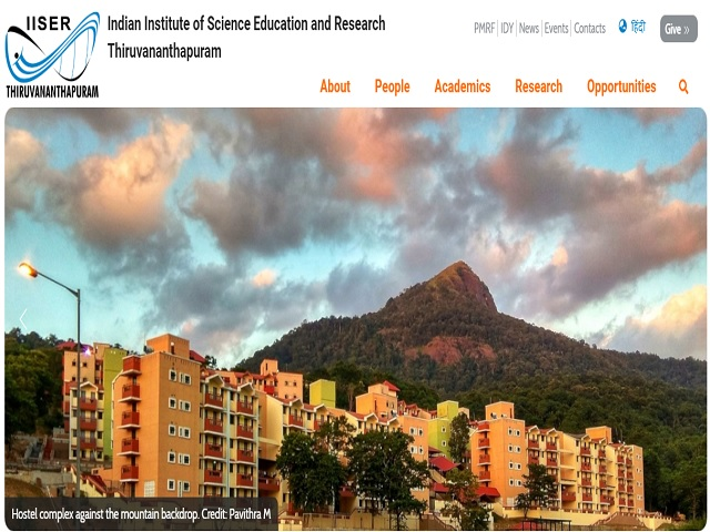 Indian Institute of Science Education and Research Thiruvananthapuram (IISER) SRF Post 2019