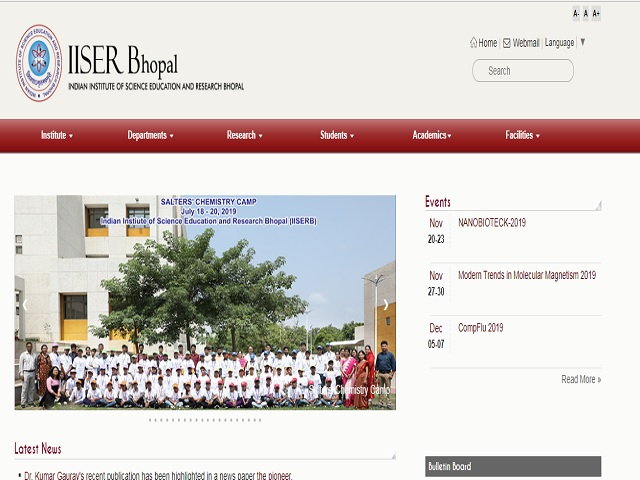 Indian Institute of Science Education and Research Bhopal (IISER Bhopal) JRF/SRF Posts 2019