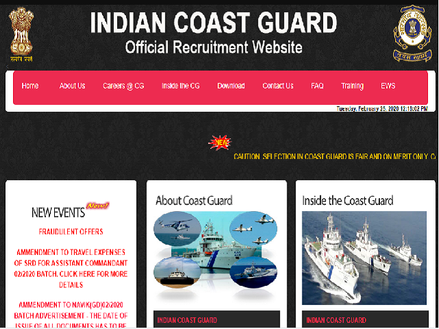Coast Guard Assistant Commandant (02/2020) Admit Card 2020
