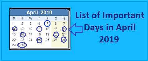 important days in april 2019