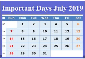 Malayalam Calendar 2019 May.Important Days And Dates In July 2019 National And International
