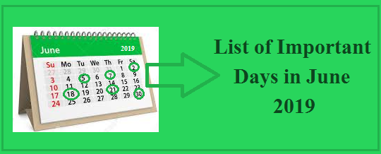 Important Days in June 2019| National and International Days