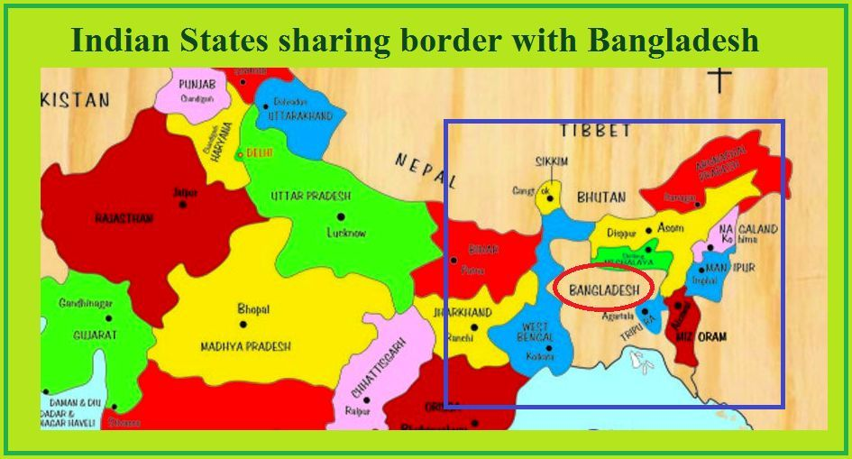 Which States of India share boundaries with Bangladesh?