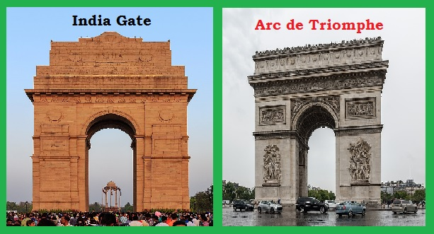 Arc de Triomphe and India Gate