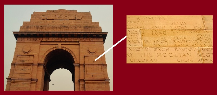 Soldiers name on India Gate Wall