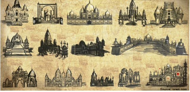 What is the difference between Indian and Islamic style of architecture?