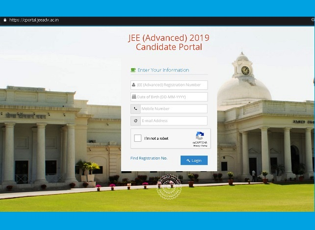 JEE Advanced 2019: Login Form
