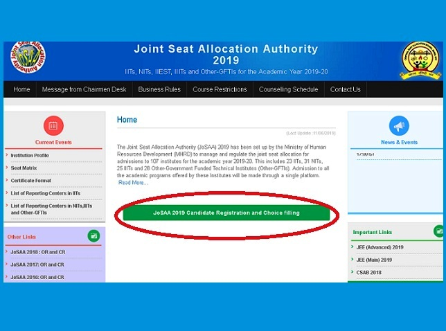 JoSAA 2019 Registration - Step 1