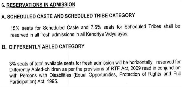 KV Admission Registration Criteria
