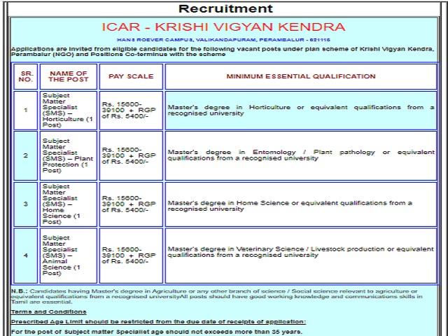 Krishi Vigyan Kendra Recruitment 2020: Apply for Subject Matter Specialist Posts
