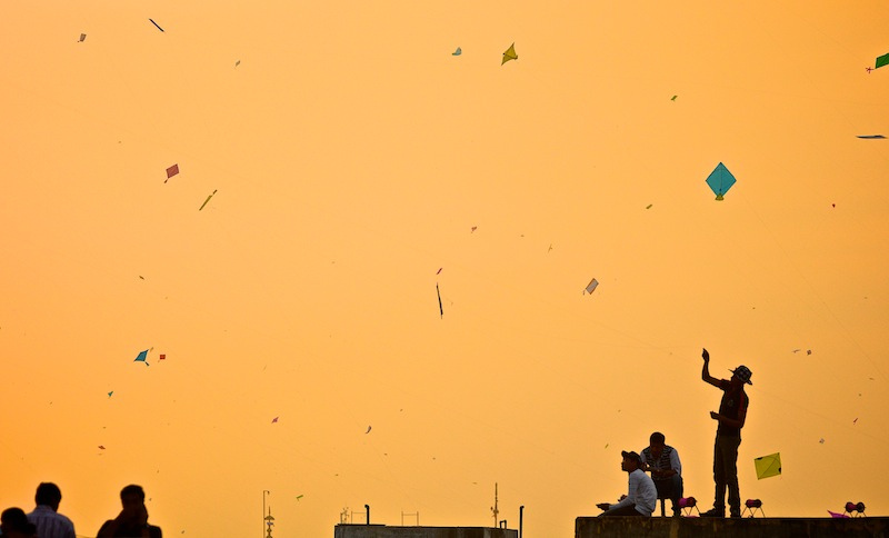 Kite Flying at Pongal Festival in India