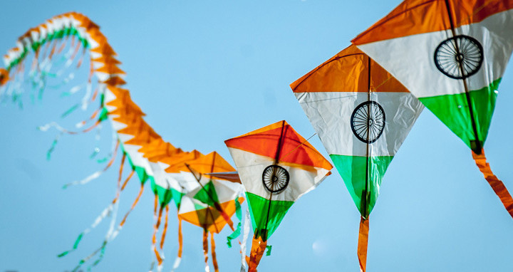 Kite flying at Independence Day
