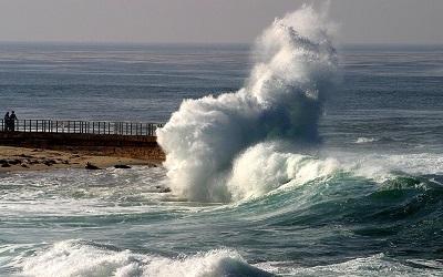 Landslide in ocean