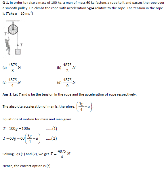 JEE Main Physics Practice Paper - Newton's Laws of Motion I
