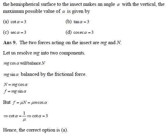 Practice questions of laws of motion II