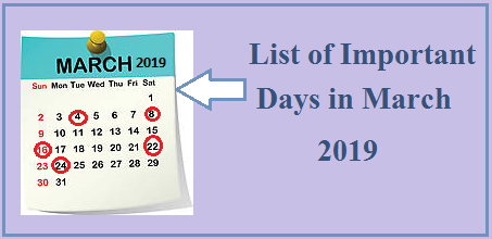 Important Days in March 2019| National, International Days