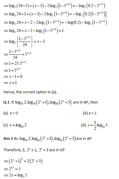 Iit Jee Main Solved Practice Paper Set 1 1 Logarithms And Their