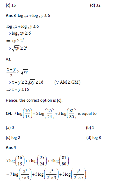 IIT JEE Main Solved Practice Paper: Set 1 1 Logarithms and Their