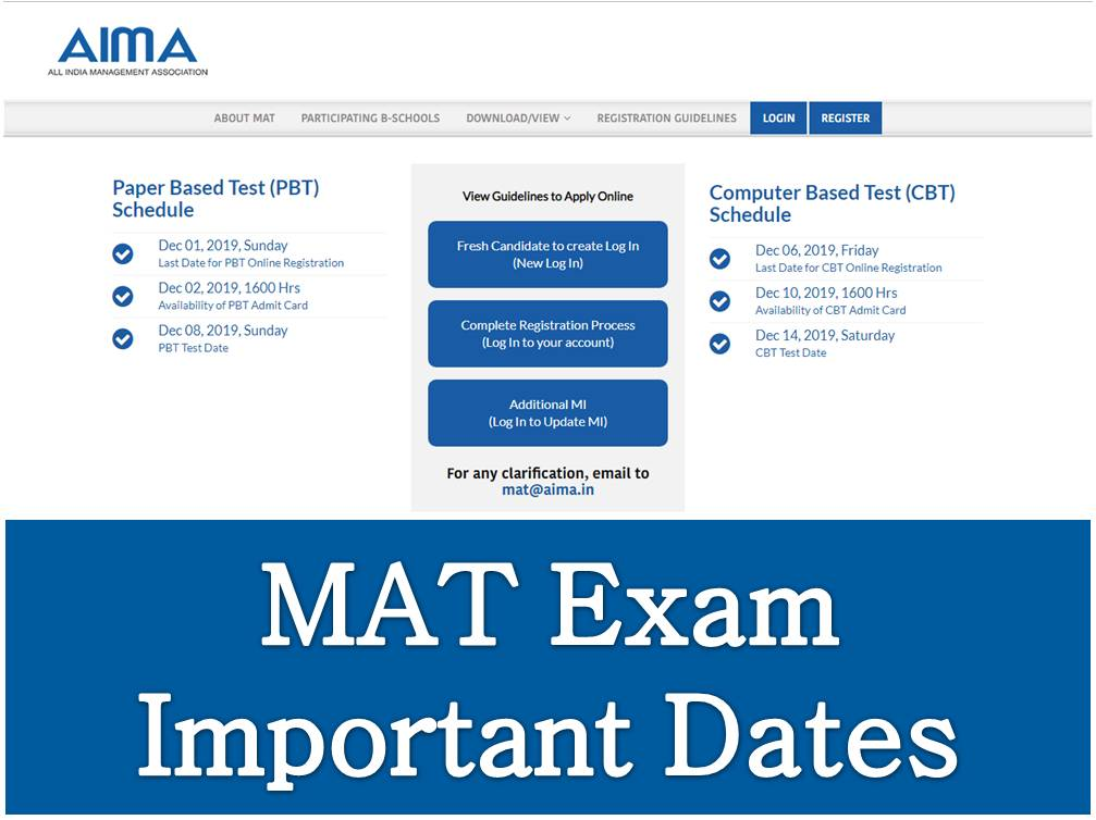 MAT Exam Important Dates