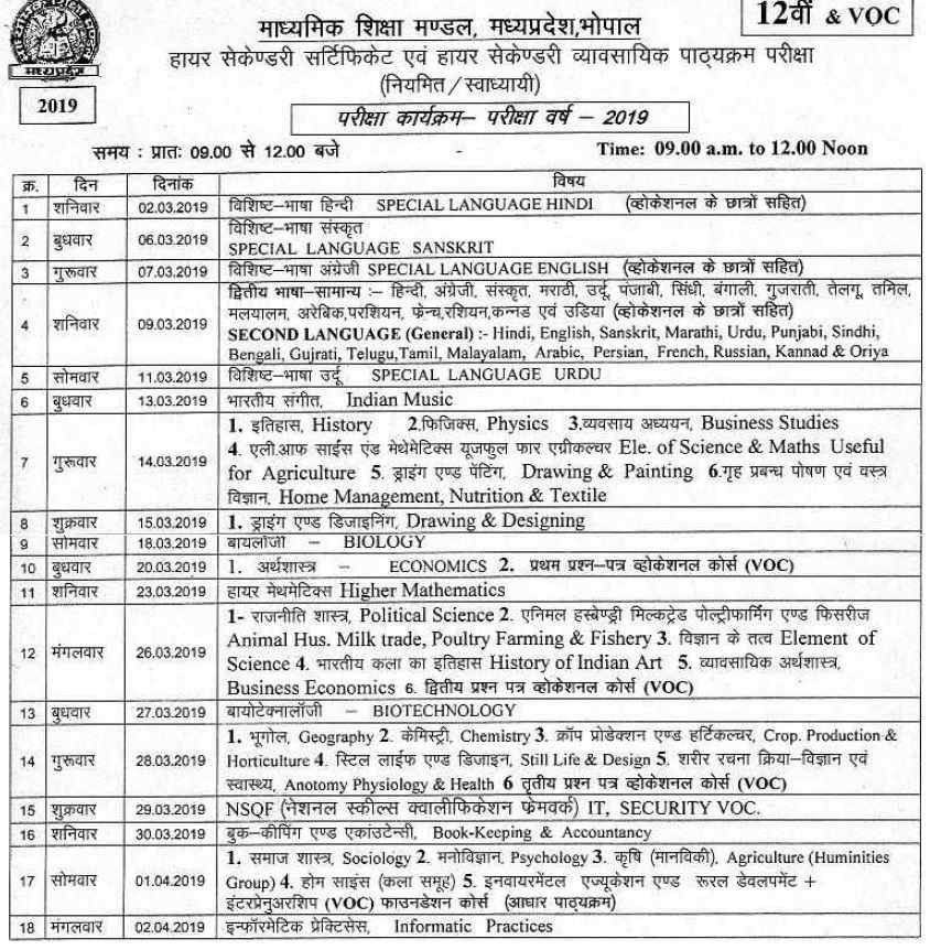 MP Board 12th Time Table 2019