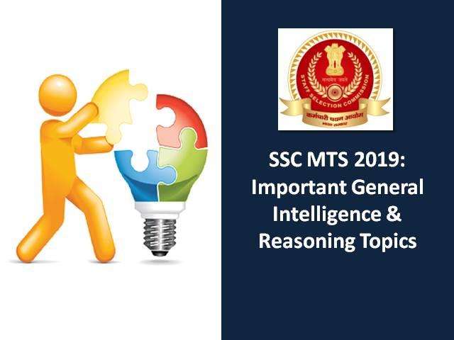 SSC MTS 2019: Important General Intelligence & Reasoning Topics
