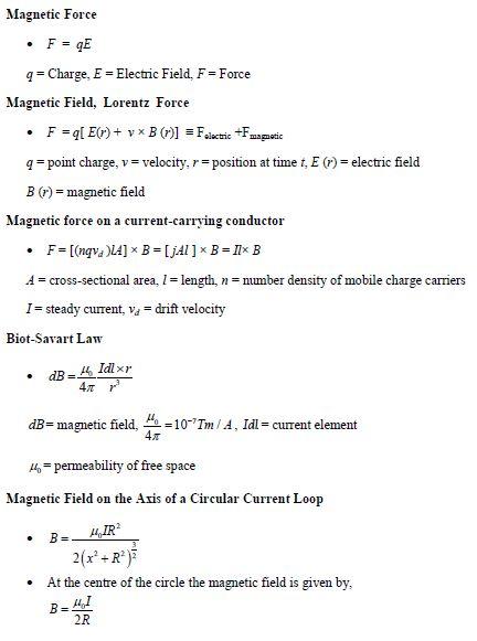 Study Notes and Important Questions of Magnetism for IIT JEE