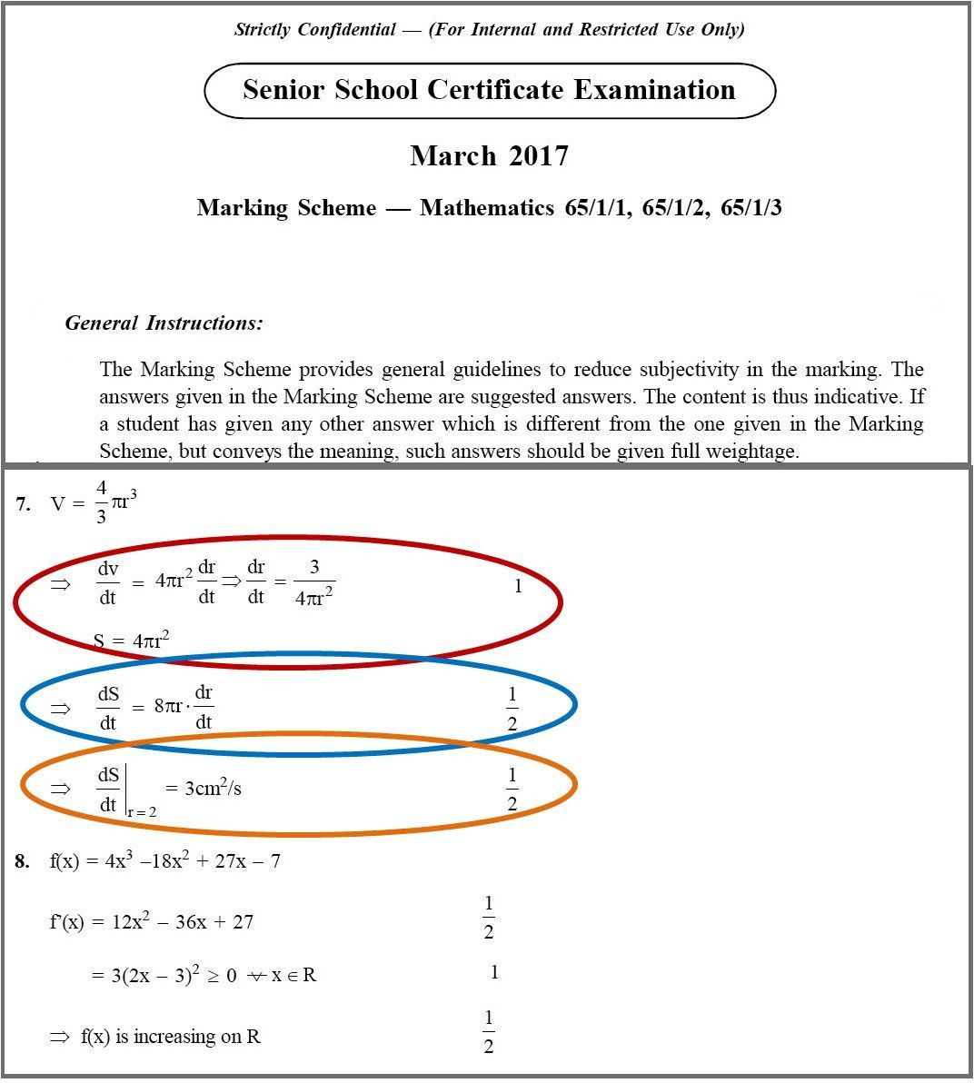 Calculation of score in CBSE Result 2018 with the help of marking scheme