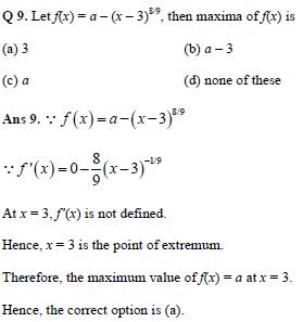 Maxima and Minima practice question