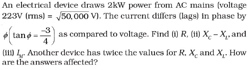 NCERT Exemplar Solutions for Class 12 Physics - Chapter 7: Alternating Current (LA) - Q 7.27