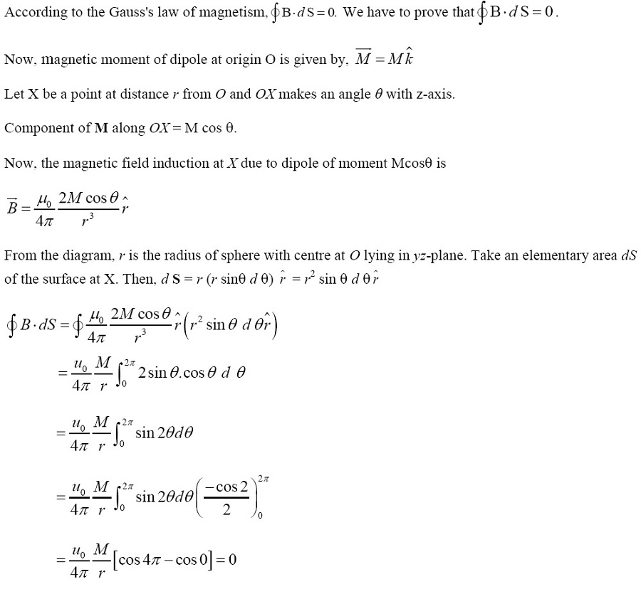 NCERT Exemplar Solutions for CBSE Class 12 Physics ‒ Chapter 5: Magnetism and Matter (Answer 16)
